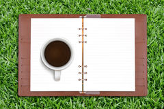 Open diary and coffee Royalty Free Stock Images