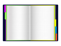Open diary with color bookmarks Royalty Free Stock Photo
