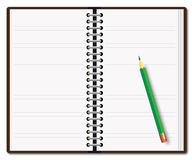 Open diary with a pencil Stock Photo