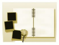 Open diary or photo album with vintage instant photos Royalty Free Stock Image