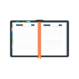 Open diary, planner or notebook vector illustration in flat style. Royalty Free Stock Image