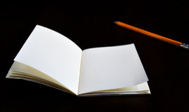Open diary pocket book and pencil Royalty Free Stock Photography