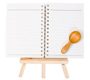 Open diary ring binder on small tripod for painting. isolated on Stock Photo
