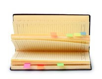 Open diary with stickers Royalty Free Stock Images