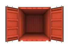 Open die metaalcontainer op witte achtergrond wordt geïsoleerd Stock Foto