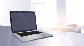 Open Digital Laptop Computer On Table Modern Apartment Window Sun Shine Stock Photos