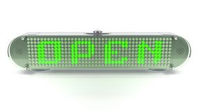 OPEN - Digital Pin Sign with Emitting LED Light Royalty Free Stock Image