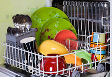 Open dishwasher Stock Photo
