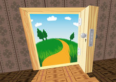 The open door. Vector illustration of the view through the open door Stock Image