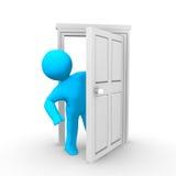 Open Door. A person peeking around an open door Royalty Free Stock Photography