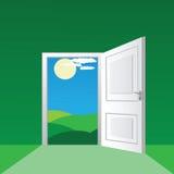 Open door. To a sunny field Royalty Free Stock Photos