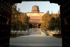 Open the door. Through ancient gate to royal garden Royalty Free Stock Photos