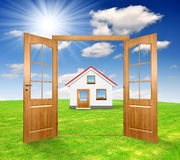 Open the door. To the spring landscape with house Stock Photos