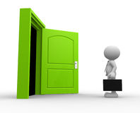 Open door. 3d people - man, person with a briefcase standing in front of open door Royalty Free Stock Photography