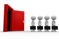 Open door. 3d people - men, person with a briefcase standing in front of open door Stock Photos