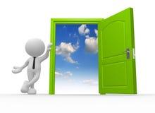 Open door. 3d people - man, person and a open door to heaven Royalty Free Stock Photo