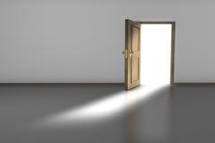 Open Door. 3D render of an empty room with an open wooden door Stock Photos