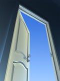 Open Door. Conceptual 3d image, door to the sky Stock Illustration