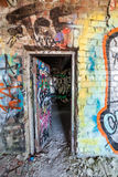Open door at abandoned factory Stock Photography