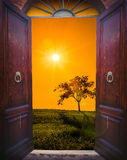 Open Door And Landscape Stock Photo