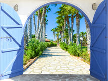 Open door arch with access  the alley Stock Image