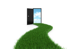 Open door on background sky with driveway grass Royalty Free Stock Images