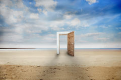 Open door on a beach Royalty Free Stock Images