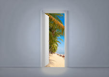 Open door. With beach in the background royalty free illustration