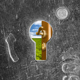 Open door behind old lock keyhole Stock Photos