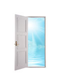 Open door and blue sky Royalty Free Stock Photography