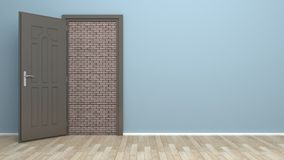 Open door and brick wall Royalty Free Stock Photography