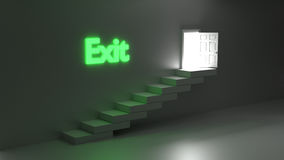 Open door with bright light and exit sign Royalty Free Stock Photo