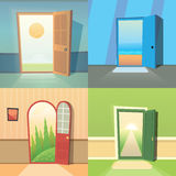 Open door cartoon vector collection. set of four cute doors. Open door cartoon vector collection, eps10 Royalty Free Stock Photography