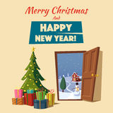 Open door. Christmas tree. Cartoon vector illustration. Open door. Winter landscape. Cartoon vector illustration. Merry Christmas and Happy New Year. Vintage Royalty Free Stock Photos