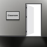 Open Door with Classroom text Royalty Free Stock Images
