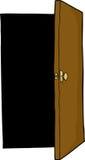 Open Door. Dark area behind open door on isolated background Stock Photo