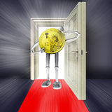 Open door with dollar coin and flare. On red carpet concept illustration Royalty Free Stock Photo