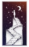 Open door into a dream, stairway to the sky. Open door into a dream. Abandoned ruin stairway to the night, with a boy looking at moon sky. Symbol of imagination Royalty Free Stock Photo