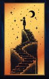 Open door into a dream, stairway to the sky. Open door into a dream. Abandoned ruin stairway to the night, with a boy looking at moon sky. Symbol of imagination Stock Photo