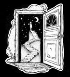 Open door into a dream, stairway to the sky. Open door into a dream. Abandoned ruin stairway to the night, with a boy looking at moon sky. Symbol of imagination Stock Images
