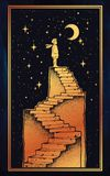Open door into a dream, stairway to the sky. Open door into a dream. Abandoned ruin stairway to the night, with a boy looking at moon sky. Symbol of imagination Royalty Free Stock Images