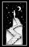 Open door into a dream, stairway to the sky. Open door into a dream. Abandoned ruin stairway to the night, with a boy looking at moon sky. Symbol of imagination Stock Illustration