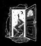 Open door into a dream, stairway to the sky. Stock Photography