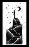 Open door into a dream, stairway to the sky. Open door into a dream. Abandoned ruin stairway to the night, with a boy looking at moon sky. Symbol of imagination Vector Illustration