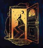 Open door into a dream, stairway to the sky, wolf. Open door into a dream. Abandoned ruin stairway to the night, with a wolf howling at moon sky. Symbol of Royalty Free Stock Images