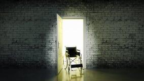 Open door with an empty wheel chair Stock Photos