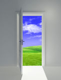 Open door on field. Door on juicy green glade clear daytime Stock Photography