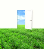 Open door in field Royalty Free Stock Photo