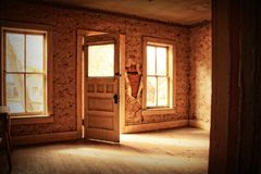 Through the Open Door Ghost Town. Open door to an abandoned home in the ghost town of Bannack, MT Royalty Free Stock Images