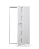 Open door with glass inserts isolated on white background. 3d re Royalty Free Stock Photography